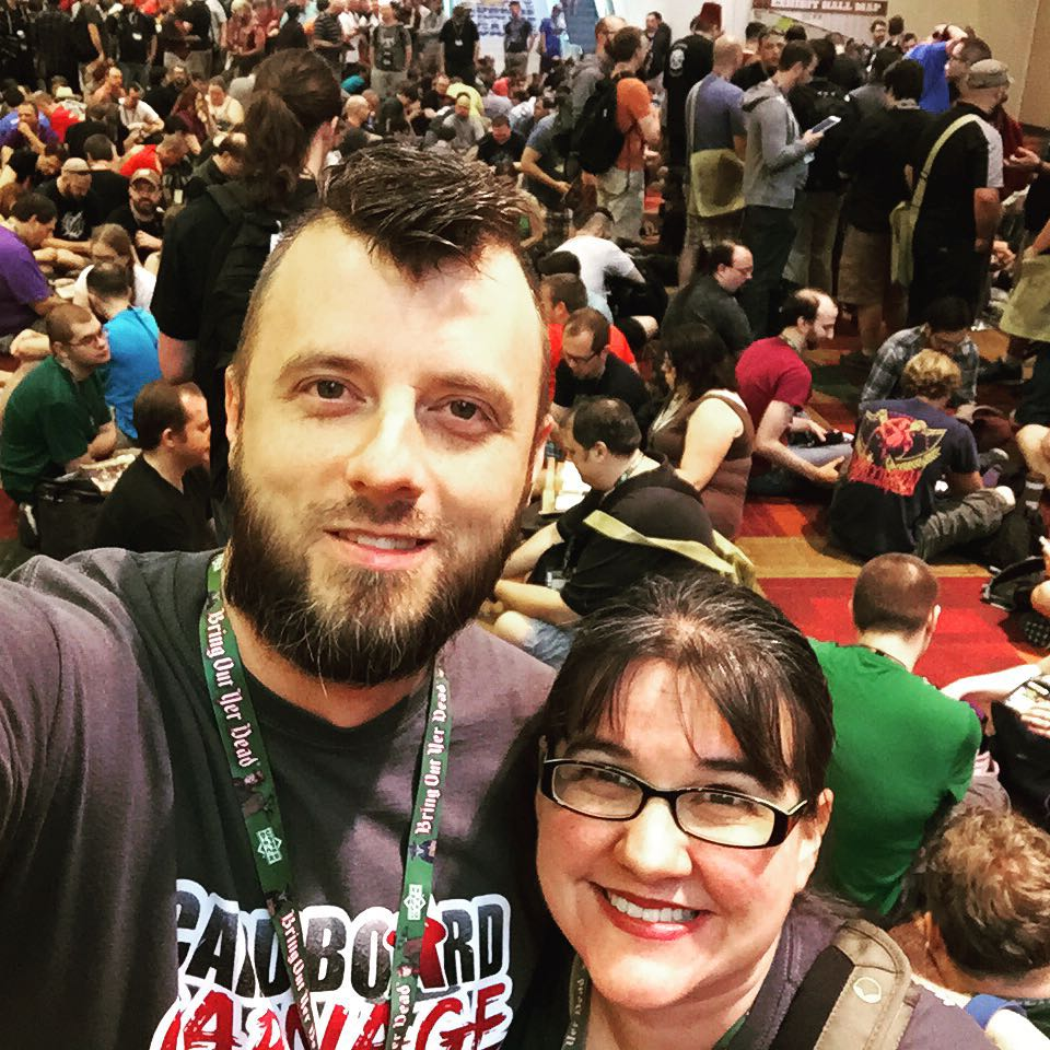 Gregg and I waiting in the massive crowd to enter the vendor hall